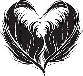 Black heart made by feather.