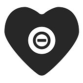 black heart with sign stop inside. Vector illustration. Flat style. Simple form icon