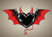 vector image of a red black heart with vampire wings and horn