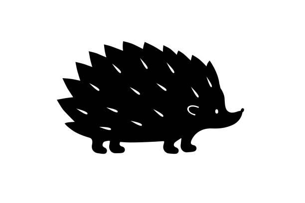 schwarz-igel silhouette. vektor-schatten. laser-schneiden-pfad - igel stock-grafiken, -clipart, -cartoons und -symbole