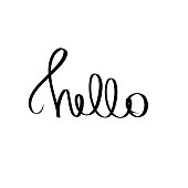 Black Hello handwritten phrase. Vector illustration text graphic design element on white background. Trendy calligraphy poster for sticker, print, t shirt, banner, invitation card, business, template