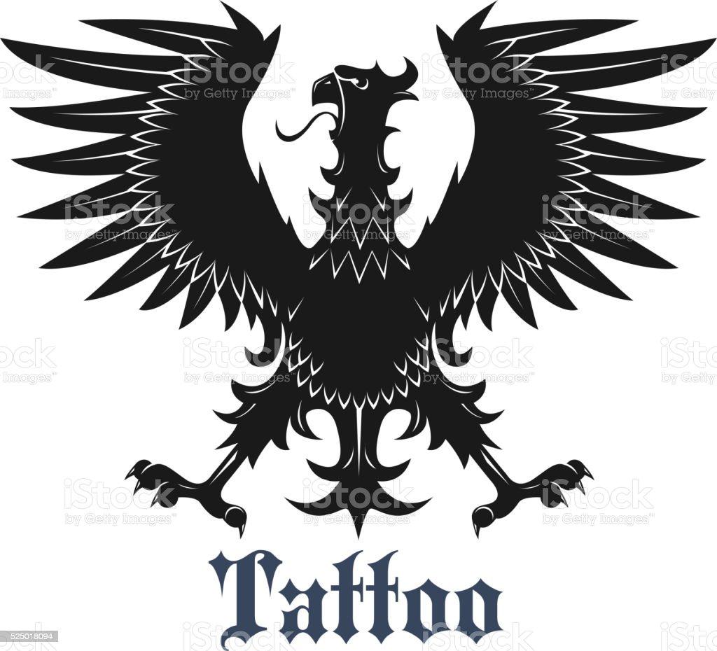 Ilustración De Negro águila Heráldica Con Alas Estirados Y Más Banco