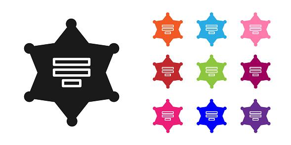 Black Hexagram sheriff icon isolated on white background. Police badge icon. Set icons colorful. Vector Illustration