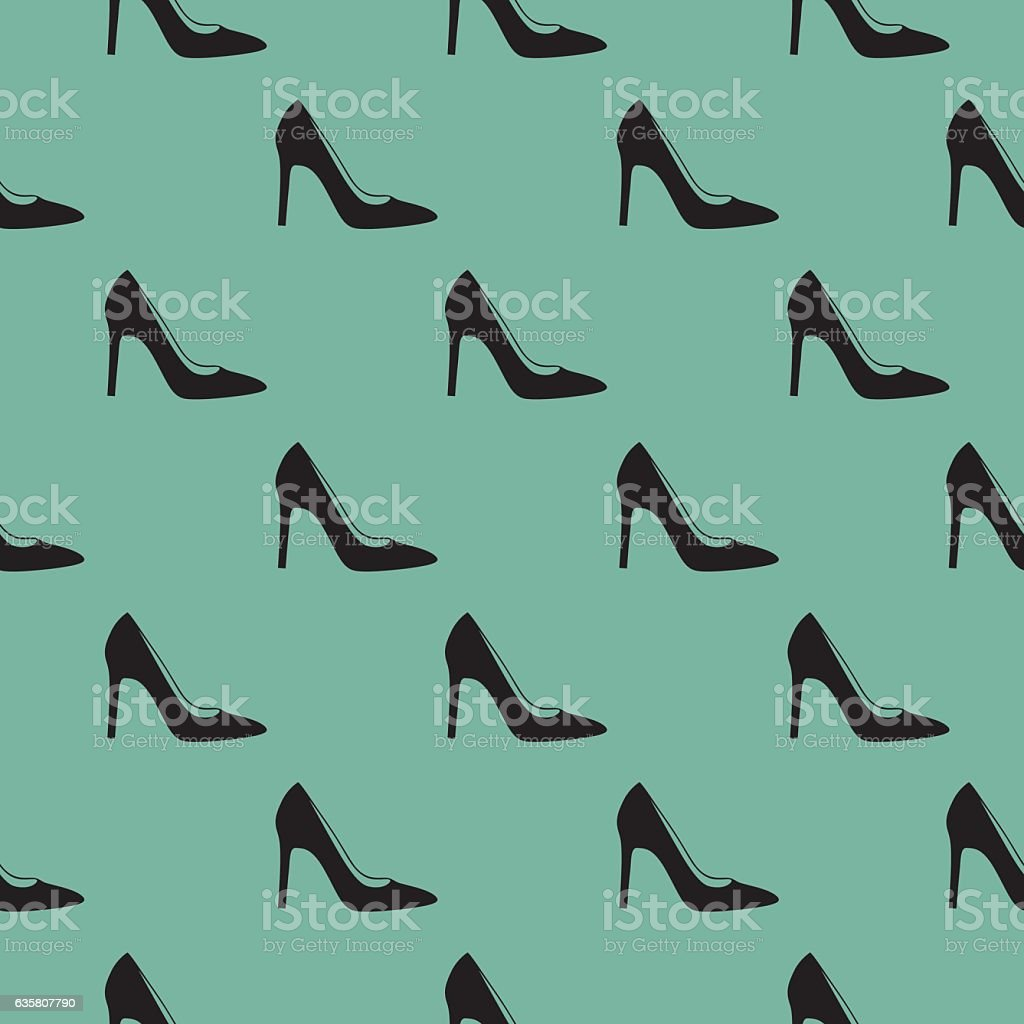 Black High Heel Shoes Seamless Pattern - Illustration vectorielle