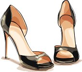 A pair of black high heel shoes. Left and right shoes are grouped and layered separately.