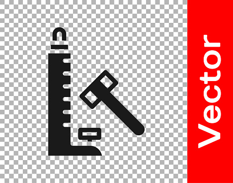 Black High striker attraction with big hammer icon isolated on transparent background. Attraction for measuring strength. Amusement park. Vector