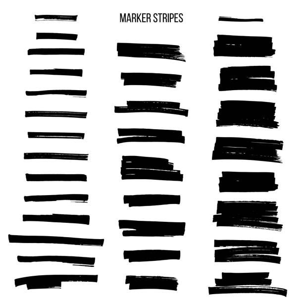 black highlight marker stripes isolated on white background. vector design elements. - szczotkować stock illustrations