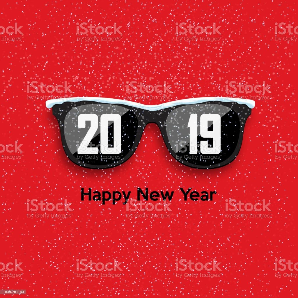 black hipster glasses on a snowfall background happy new year and merry christmas vector