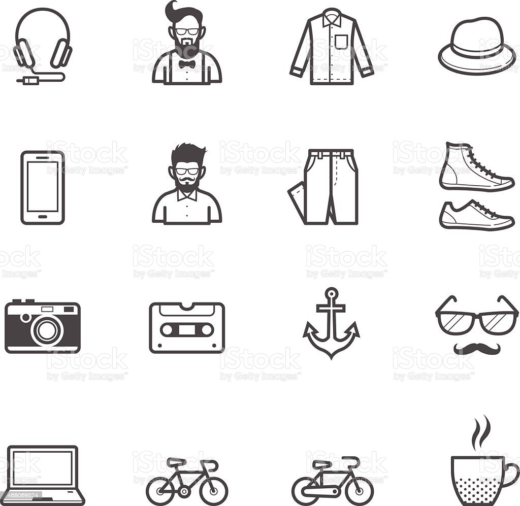 Black Hipster Icons On A White Background Royalty Free