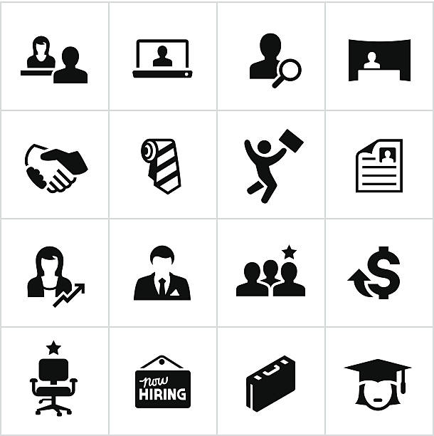 Black Hiring Icons Hiring and employment icons. All white strokes are cut from the icons and merged allowing the background to show through. recruiter stock illustrations