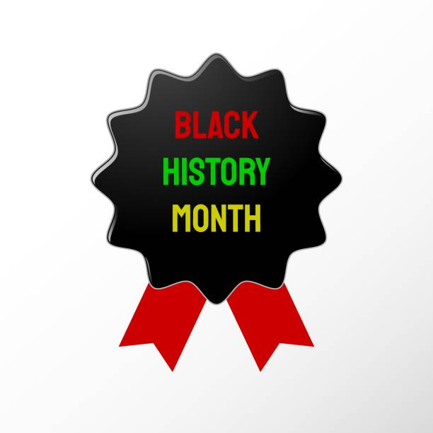 Black History Month badge, background vector art illustration