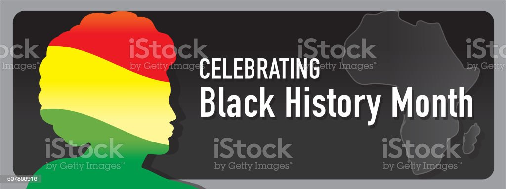 Black History month banner design with side view of man vector art illustration