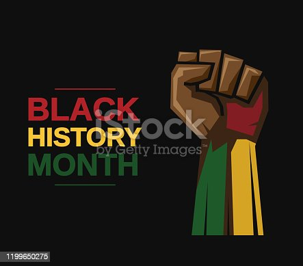 Black History Month card with fist. Vector illustration. EPS10