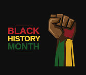 istock Black History Month card with fist. Vector 1199650275