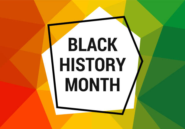 Black history month celebration vector banner. Art with low poly abctract modern African colors. African-American History Month illustration for social media, card, poster. Black history month celebration vector banner. African-American History Month illustration for social media, card, poster. Art with low poly abctract modern African colors. black history month stock illustrations