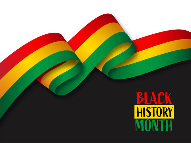 Black History Month Concept With Wavy Ribbon On Black And White Background. Black History Month Concept With Wavy Ribbon On Black And White Background. black history month stock illustrations