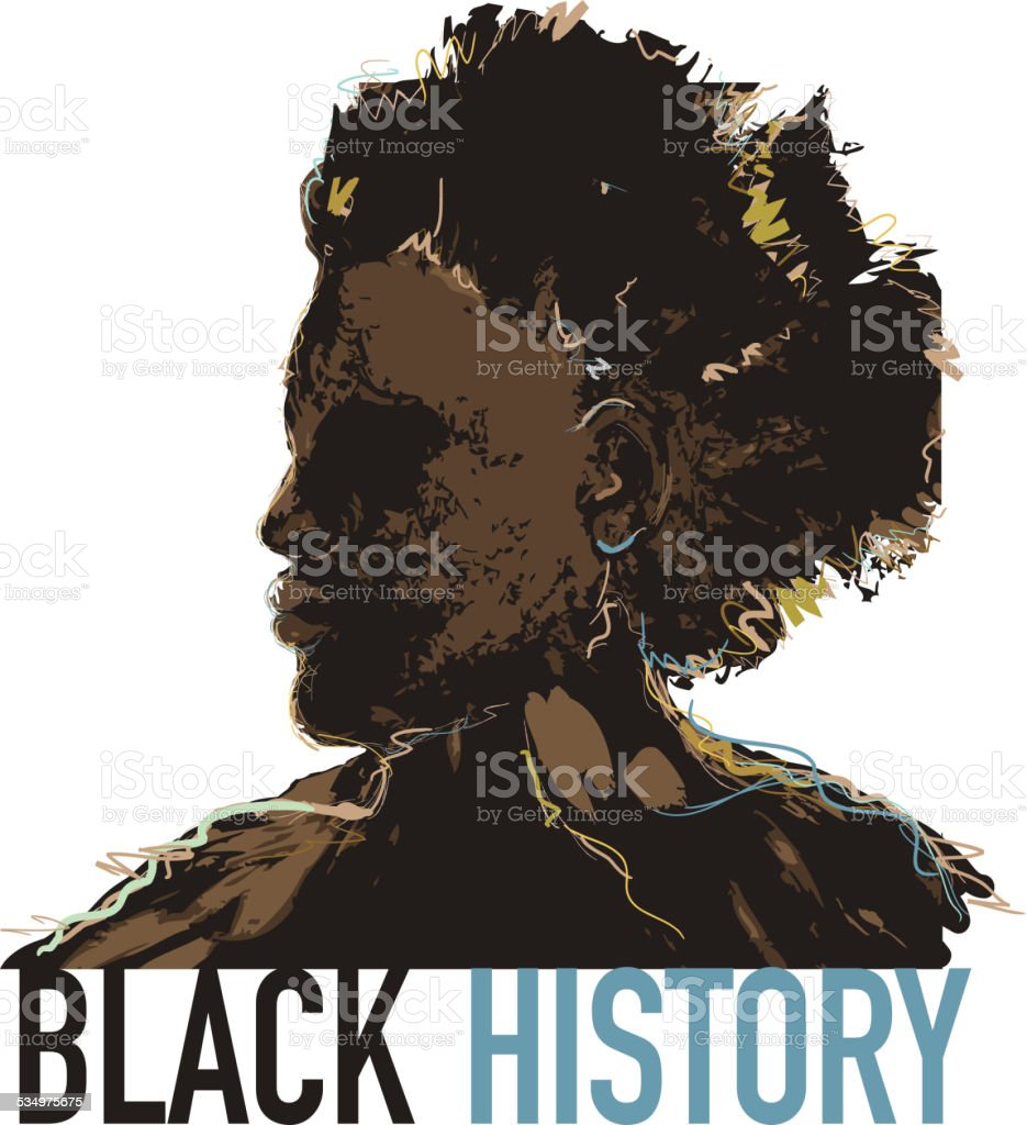 Black History month design with side view of man vector art illustration