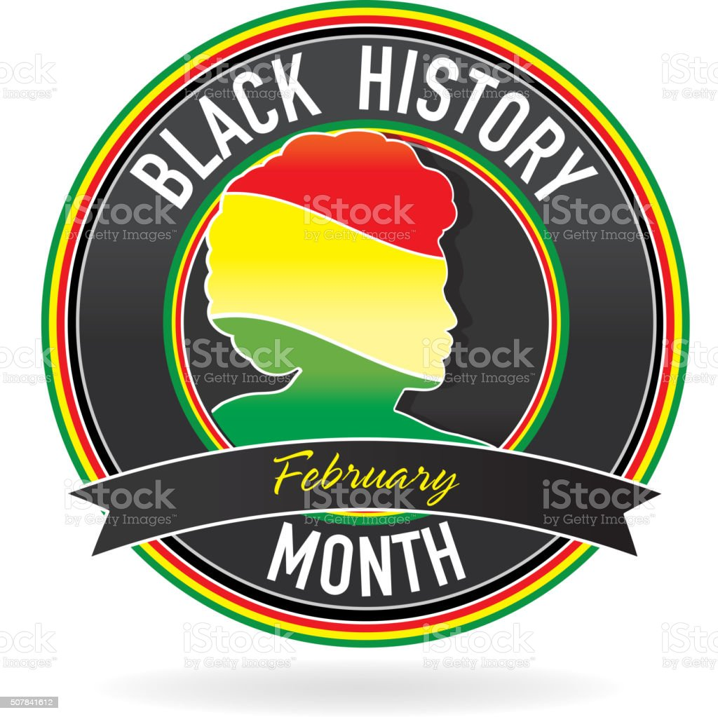Black History month emblem design with side view of man vector art illustration