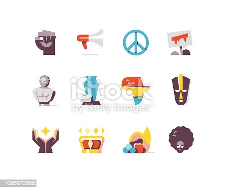 Flat icons depicting Black History including civil rights, fist, Africa, Afro, Protest, etc.