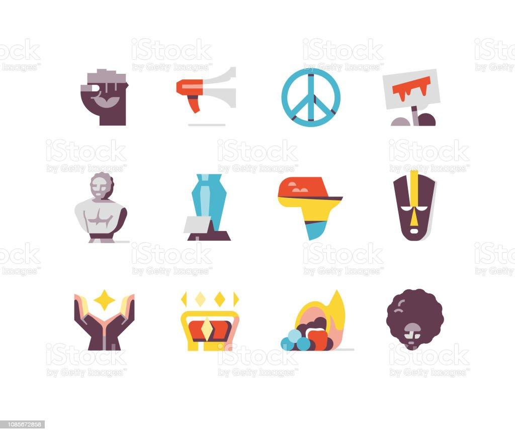 Black History Month Flat Icons Series vector art illustration