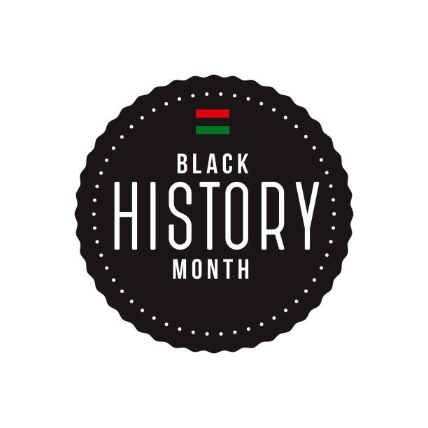 Black History Month Label An event label isolated on a transparent background. Color swatches are global for quick and easy color changes throughout the file. The color space is CMYK for optimal printing and can easily be converted to RGB for screen use. black history month stock illustrations