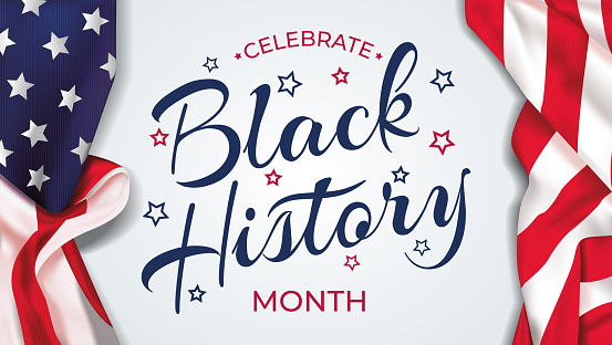Black history month lettering USA background vector illustration. Black history month celebration banner with USA flag and text - United States of America