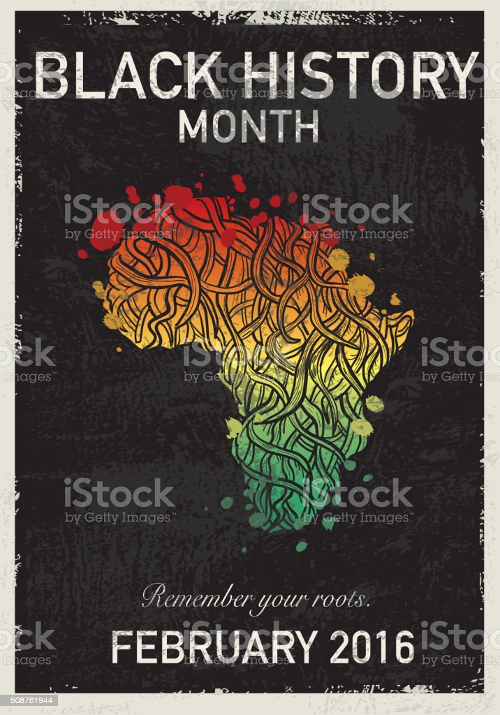 Black History month poster design with roots vector art illustration