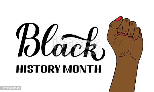 Black History Month typography poster. Annual event in February for USA and in October in UK. Vector template for banner, flyer, label, t shirt, etc.