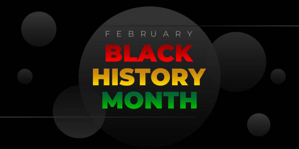 Black history month. Vector banner, poster, card for social media with the text Black history month. Black background flyer, illustration for social media, card, poster. Black history month celebration vector banner. African-American History Month illustration for social media, card, poster. Art with low poly abctract modern African colors. black history month stock illustrations