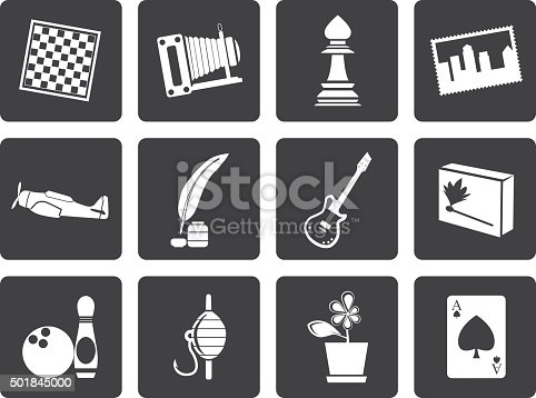 Black Hobby, Leisure and Holiday Icons - Vector Icon Set