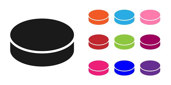 Black Hockey puck icon isolated on white background. Set icons colorful. Vector Illustration