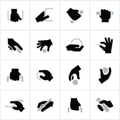 Black Holding, Grabbing Hands Icons