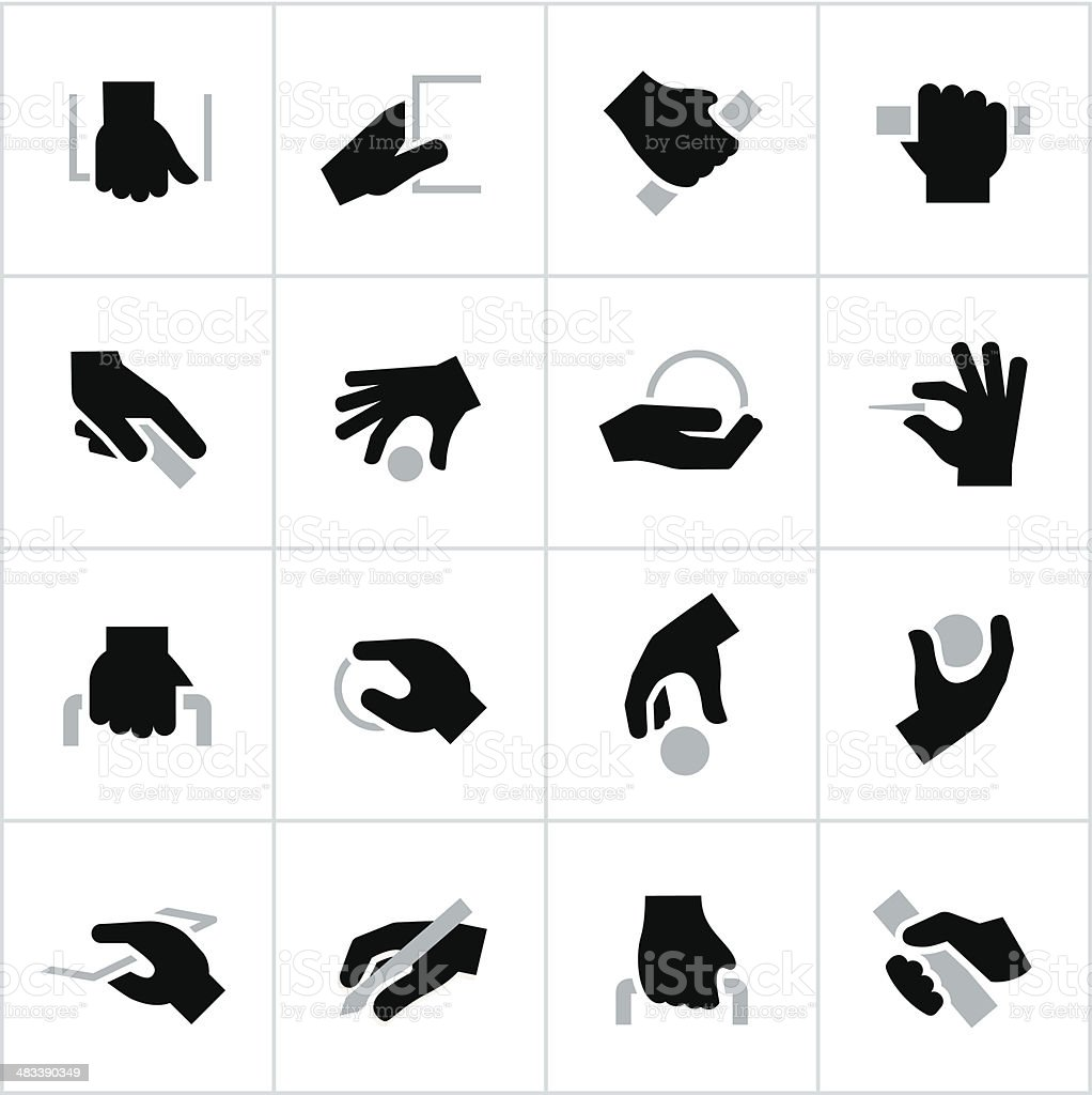 Black Holding, Grabbing Hands Icons vector art illustration