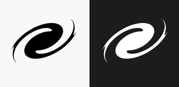 Black Hole Icon on Black and White Vector Backgrounds vector art illustration
