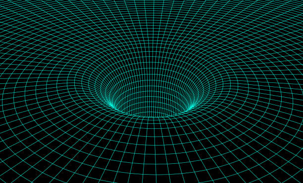 Black hole scheme with gravity grid as scientific abstract background Black hole scheme with gravity grid for scientific presentation or abstract background black hole stock illustrations