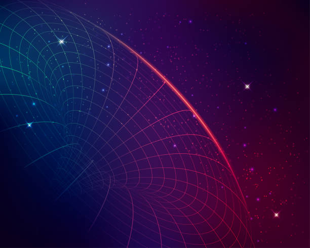 black hole concept of black hole, graphic of wireframe shape with galaxy star background black hole stock illustrations