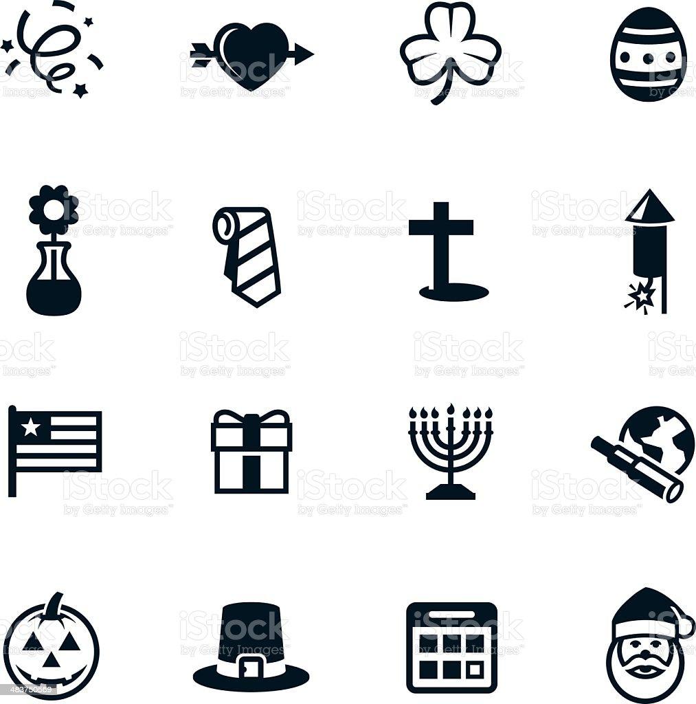 Negro iconos de vacaciones - ilustración de arte vectorial