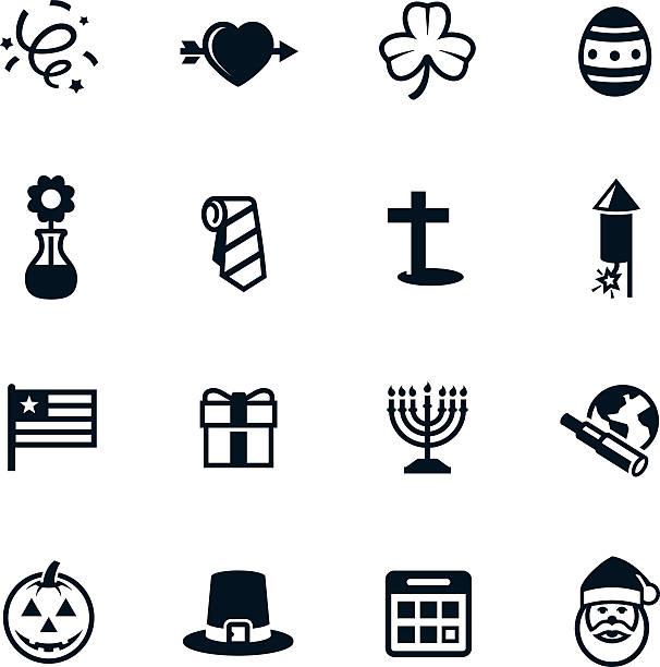 ilustraciones, imágenes clip art, dibujos animados e iconos de stock de negro iconos de vacaciones - calendario de flores