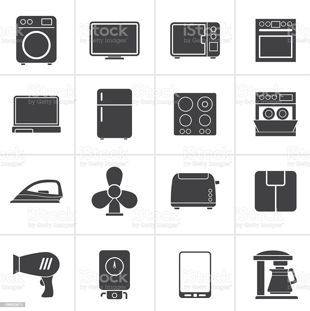 Black home appliance icons vector art illustration