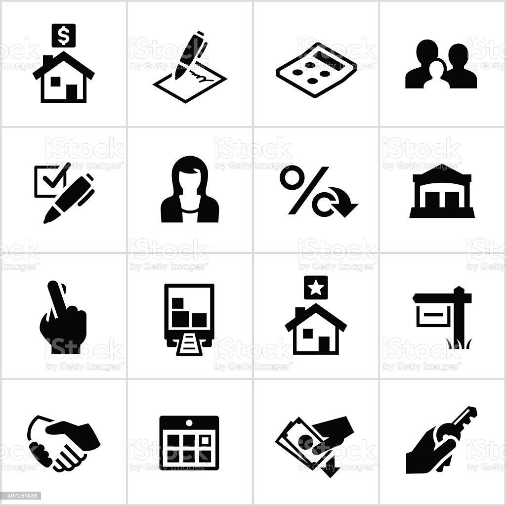 Black Home Mortgage Icons vector art illustration