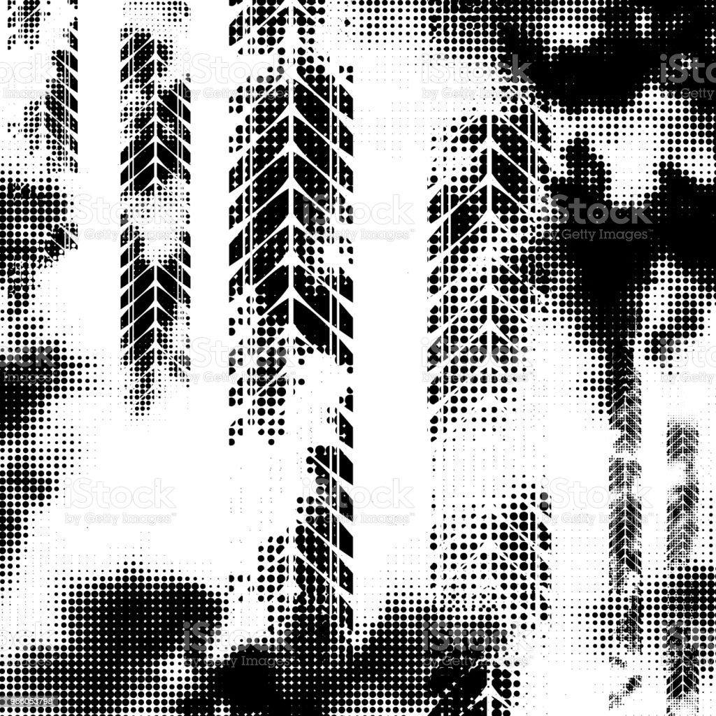 Svart horisontella halvton däck spår - Royaltyfri Abstrakt vektorgrafik