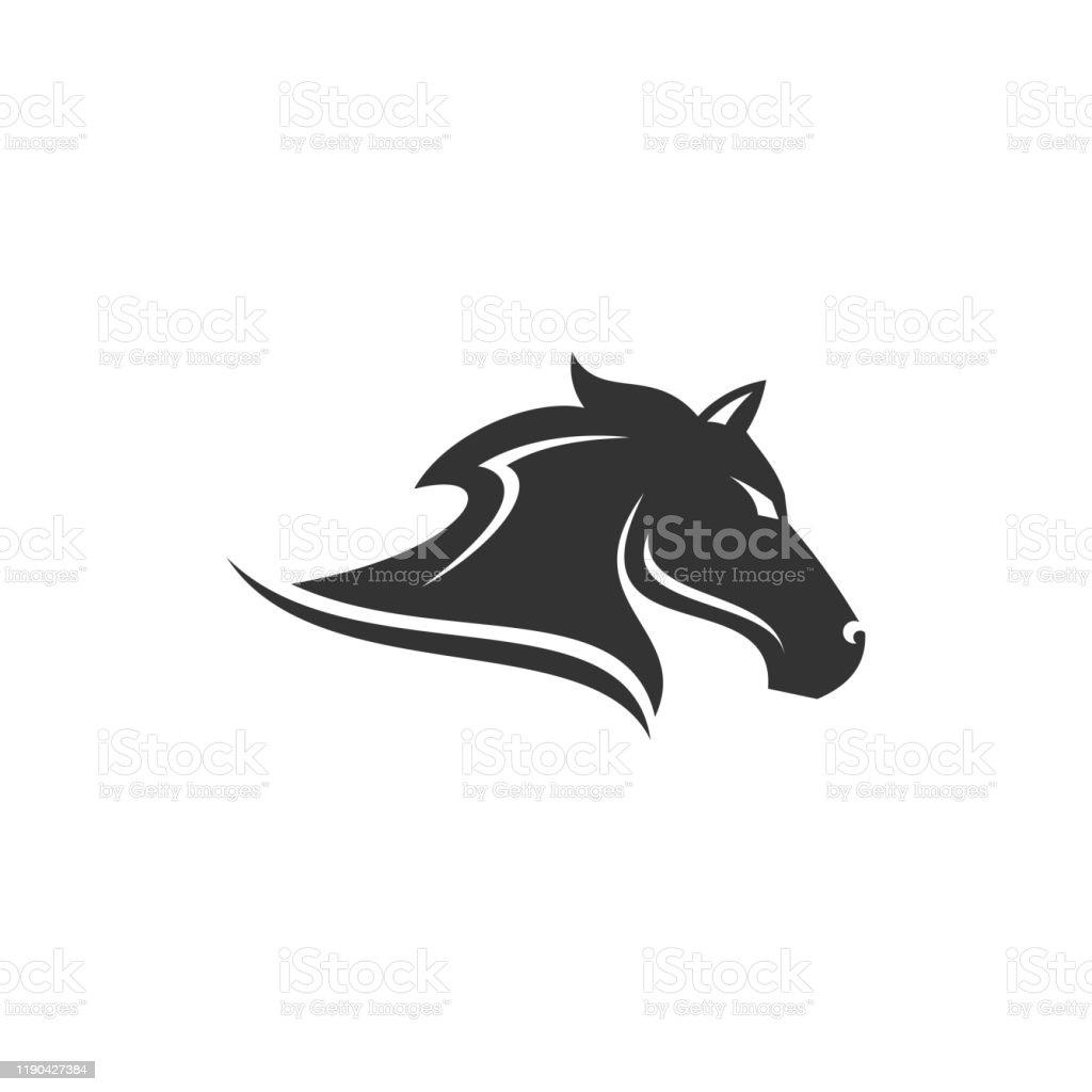 Black Horse Head Logo Designvector Illustration Isolated On White Background Stock Illustration Download Image Now Istock