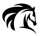 Black horse head logo on a white background