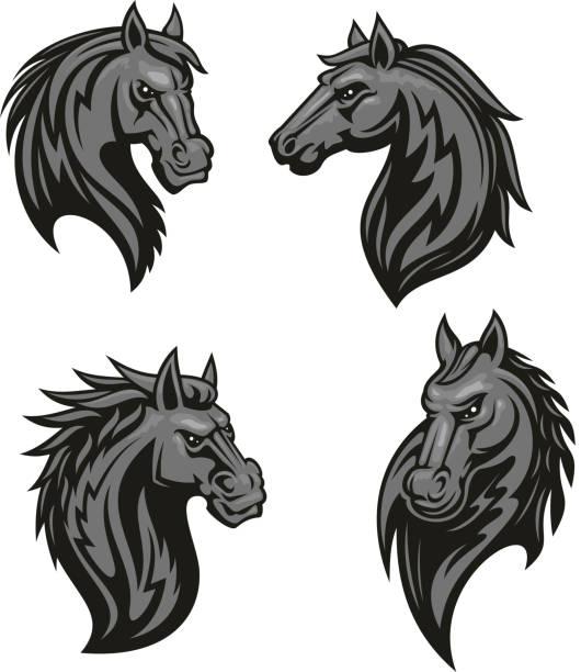 schwarzes pferd kopf maskottchen mit tribal ornament - mustangs stock-grafiken, -clipart, -cartoons und -symbole