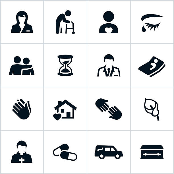 black hospice care icons - nursing home stock illustrations