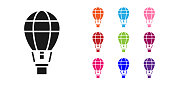 Black Hot air balloon icon isolated on white background. Air transport for travel. Set icons colorful. Vector Illustration