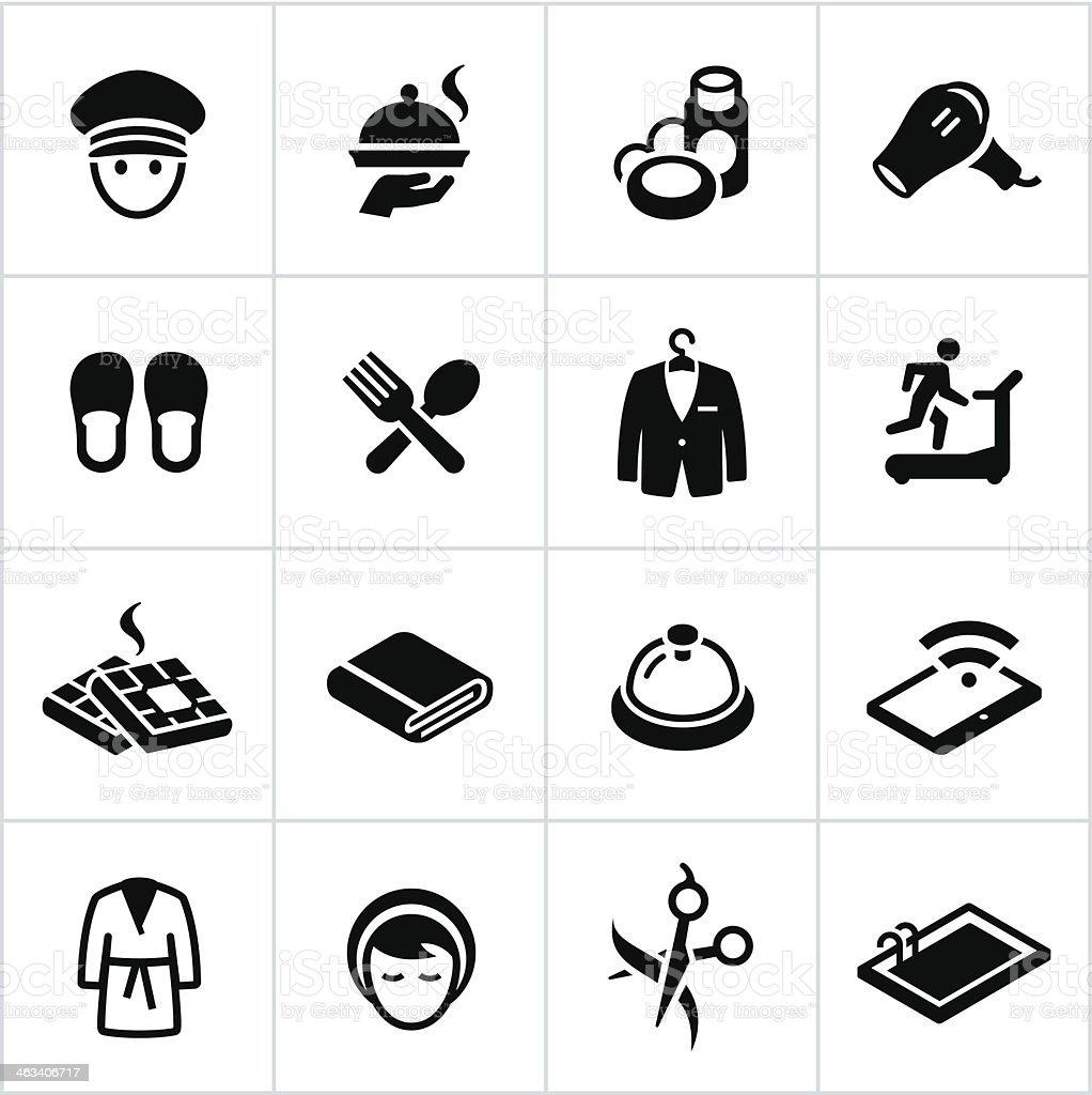 Black Hotel Amenities Icons vector art illustration