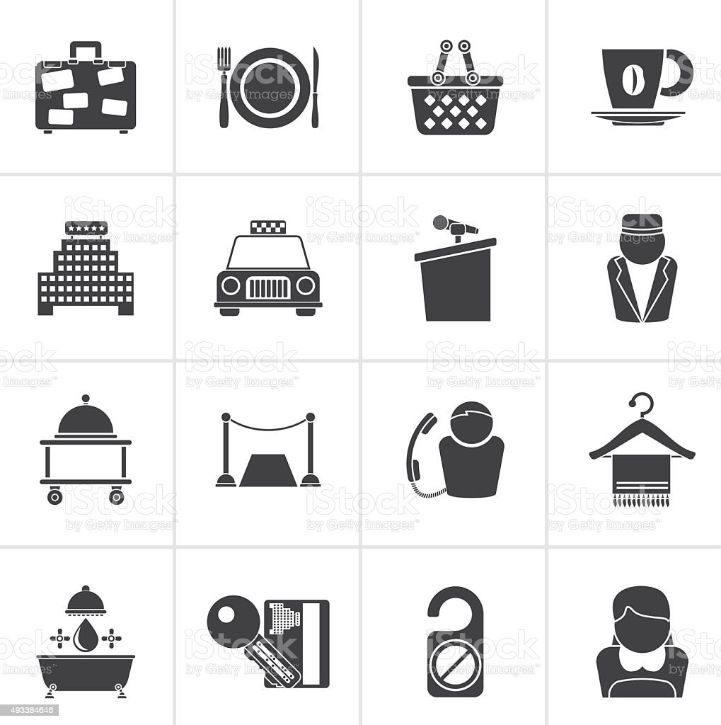 Black Hotel and motel services icons vector art illustration