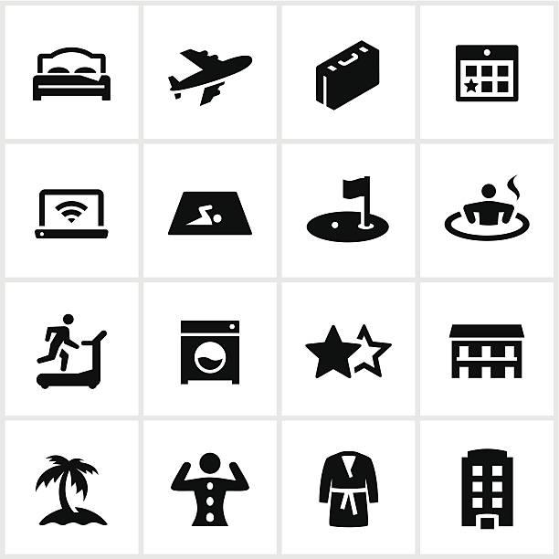 black hotel icons - workout calendar stock illustrations, clip art, cartoons, & icons