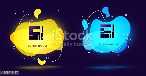 istock Black House Edificio Mirador icon isolated on black background. Mirador social housing by MVRDV architects in Madrid, Spain. Abstract banner with liquid shapes. Vector 1306718187